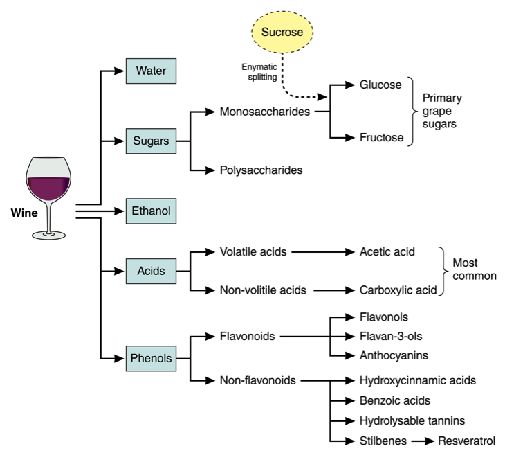 Chart showing composition of wine